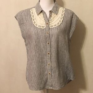 Maeve by Anthropologie Linen Button Up Top - XS
